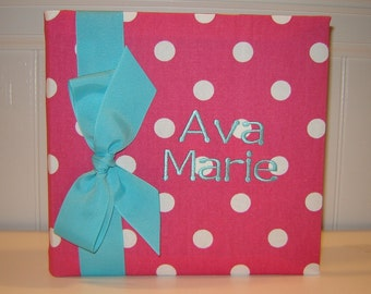Hot Pink and White Album with Aqua Accents