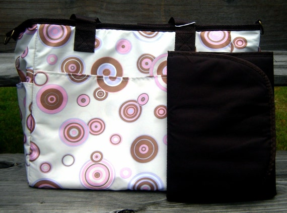 Reversible Diaper Bag in Pink and Lavender Cirlces with Changing Pad