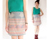 vintage woven southwestern mini skirt M