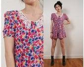 vintage 90s floral print romper shorts xxs xs