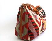 vintage kilim wool and leather bag
