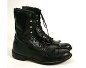 Sz 6 Black Leather Lace Up Boots