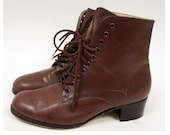 Sz 6.5 Vintage 9 West Brown Leather Ankle Boots