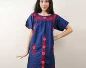 Vintage Navy Blue Mexican Embroidered Dress