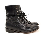 Sz 6.5 Vintage Black Leather Lace Up Justin Boots