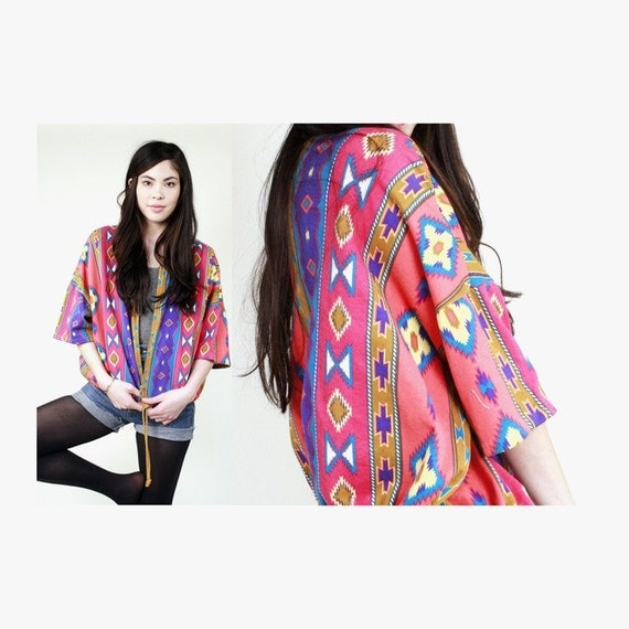 Vintage Colorful Navajo Print Jacket M