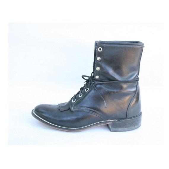 size 10 vintage black leather lace up boots 42