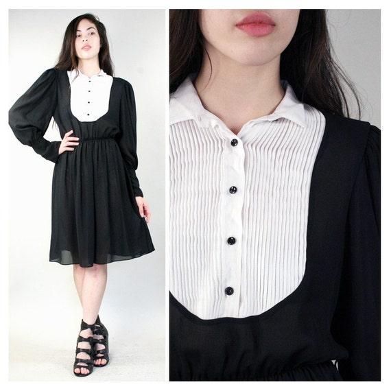vintage tuxedo black and white secretary dress m