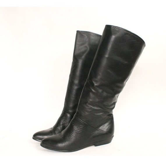 size 7 5 black leather pirate boots 38
