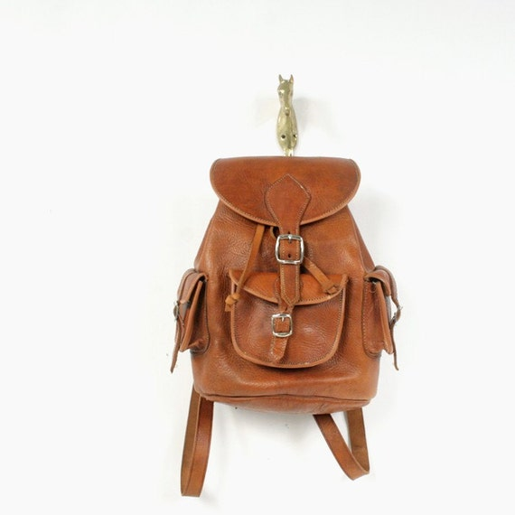 vintage brown leather backpack by santokivintage on Etsy