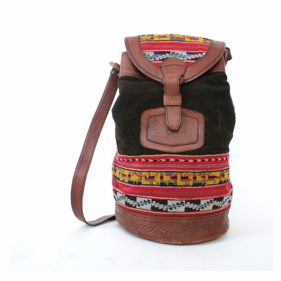 RESERVED for uncovet vintage wool and leather southwestern bucket bag