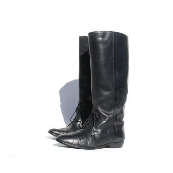 size 10 vintage black lace up boots by santokivintage
