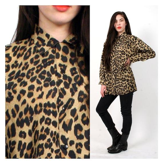 vintage SILK leopard pattern top s