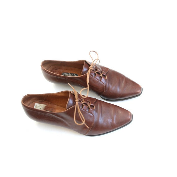 size 7 brown Italian leather oxfords