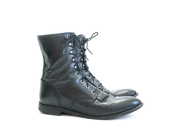 size 11 mens black leather boots by Justin