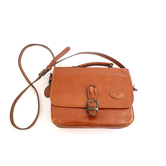 vintage brown leather boxy school girl satchel