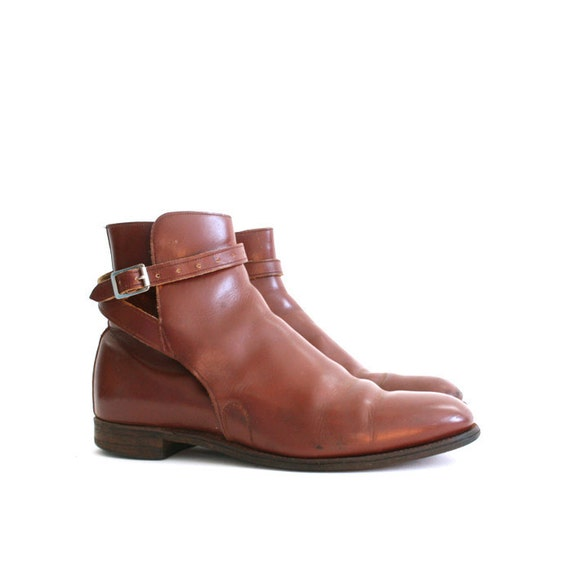 size 8.5 vintage brown leather chelsea boots Made in England