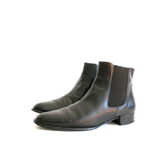 size 8.5 vintage black Italian leather modern chelsea ankle boots 39