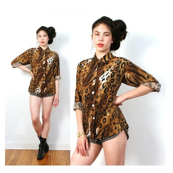 vintage SILK leopard pattern top xl