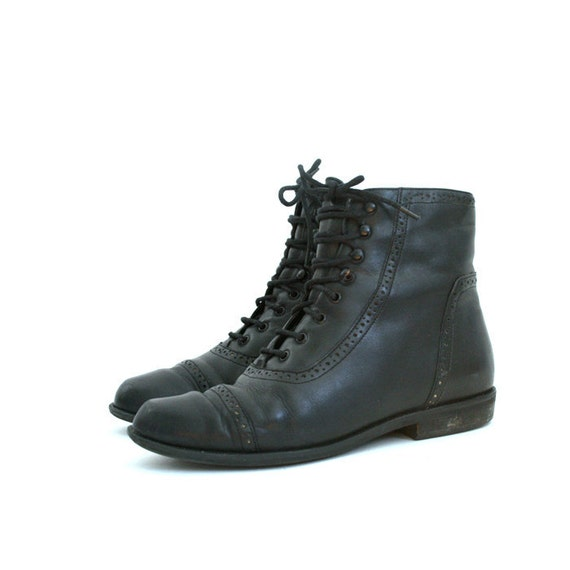 size 7 black leather CUT OUT details ankle boots