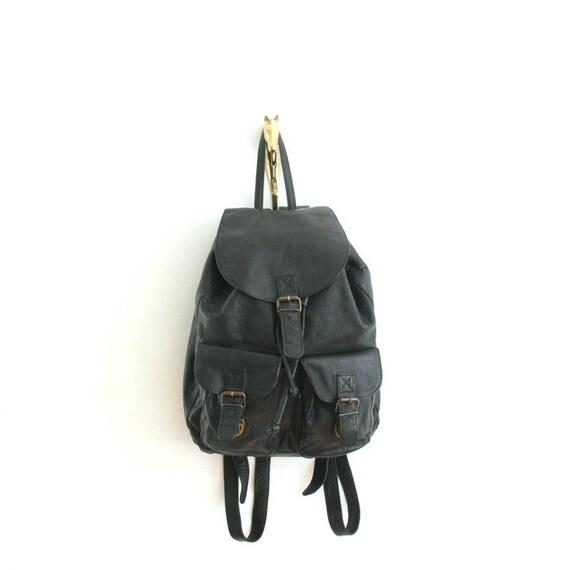 vintage black leather backpack