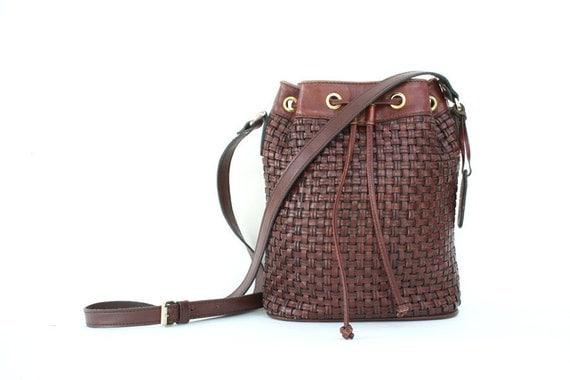 vintage brown leather BUCKET bucket bag