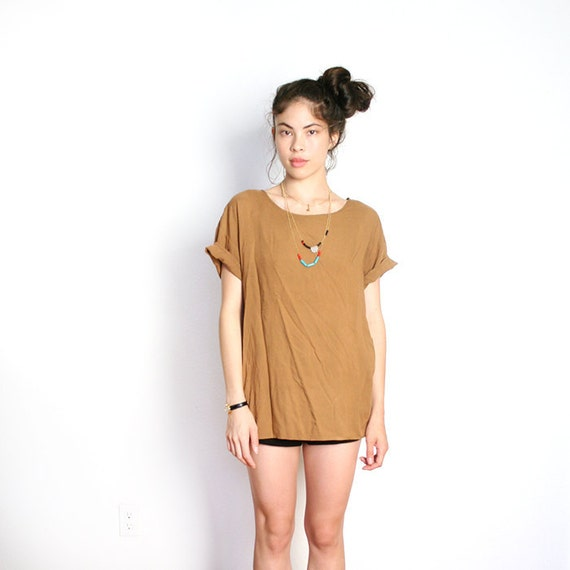 vintage boxy brown top S M