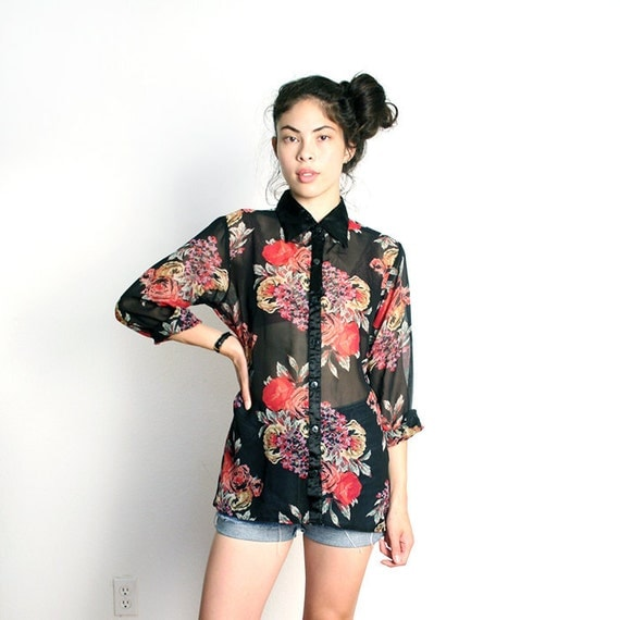 vintage SHEER contrast collar floral button down top M