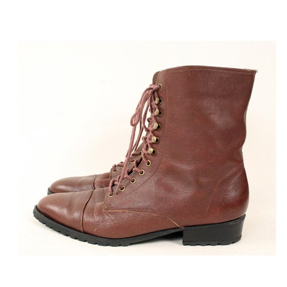 vintage brown leather ankle boots 7 5