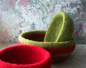 Christmas Colors Felted Whatnot/Ring Bowls - Set of 3