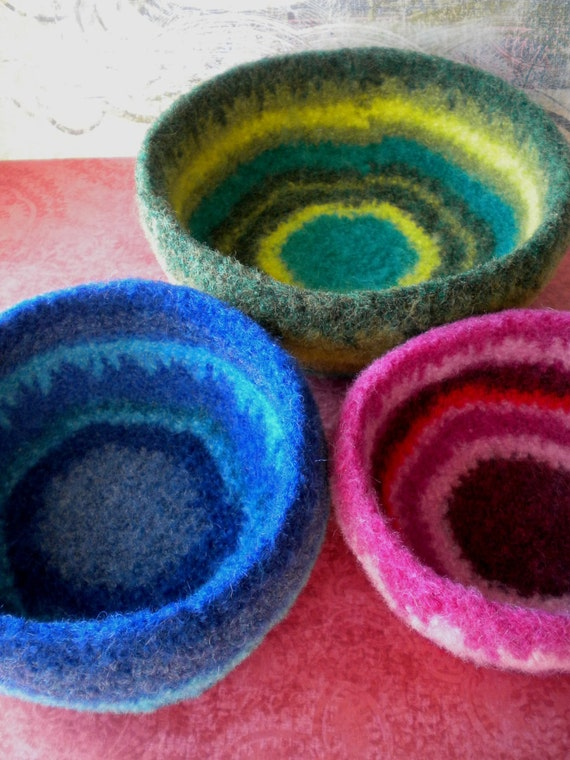 Bright Stripes  Felted Whatnot Bowls - Set of  3