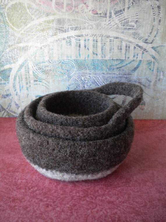 Choclate and Oatmeal  Felted Whatnot Bowls - Set of 3
