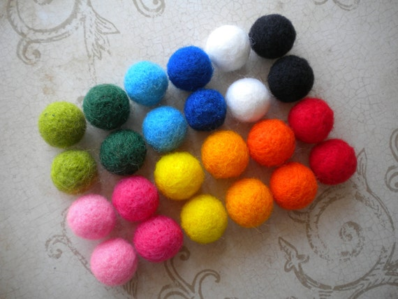 Bright Colors Needle Felted Beads - Set of  24