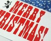 merry christmas letterpress card set