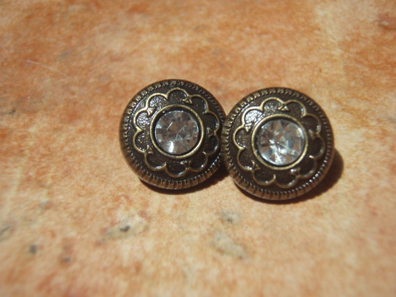 Vintage Collection-  Very Vintage Dainty Bronze and Faux Crystal Scroll Stud Earrings - - Nickel Free and Gift Packaged