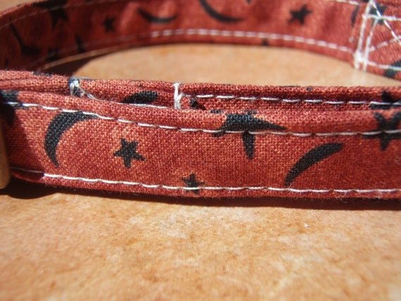 HARVEST MOON Organic Cotton CAT Collar Breakaway Safety Whimsical Retro Orange - All Antique Brass Hardware