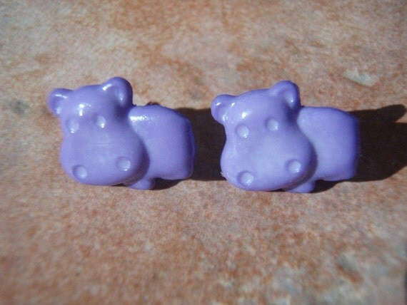 LAST PAIR - Hungry Hippos - Grape Purple Studs Earrings - - Nickel Free and Gift Packaged
