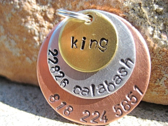 Metal Madness King - Handstamped Pet ID Tag Layered Dogs