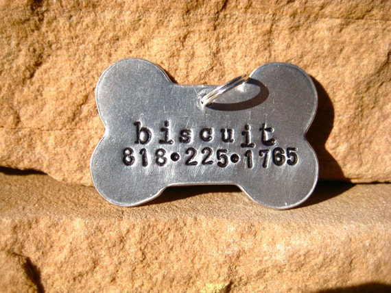 The Biscuit - Aluminum Bone Unique Handstamped Pet ID Tag Dogs Larger