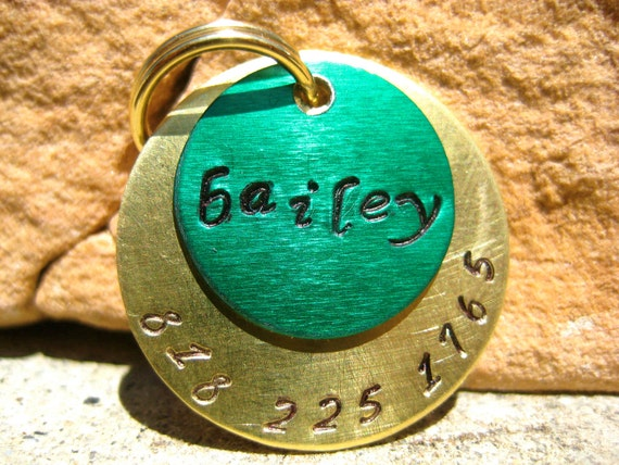 The Bailey - Unique Irish Green Gold Handstamped Pet ID Tag Layered 2 Disc Dog Tag