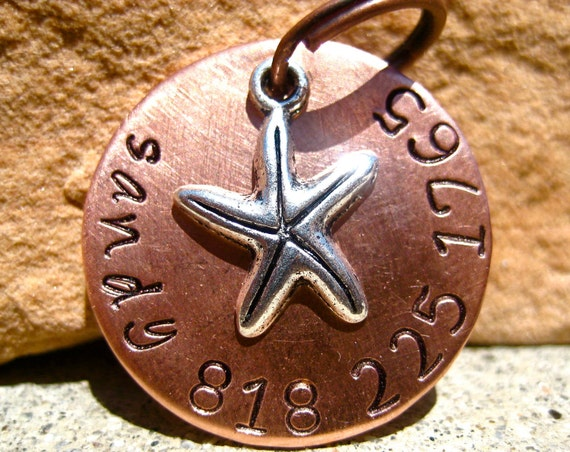 The Sandy - Unique Handstamped Copper Sea Star Starfish Pet ID Tag Dog Tag