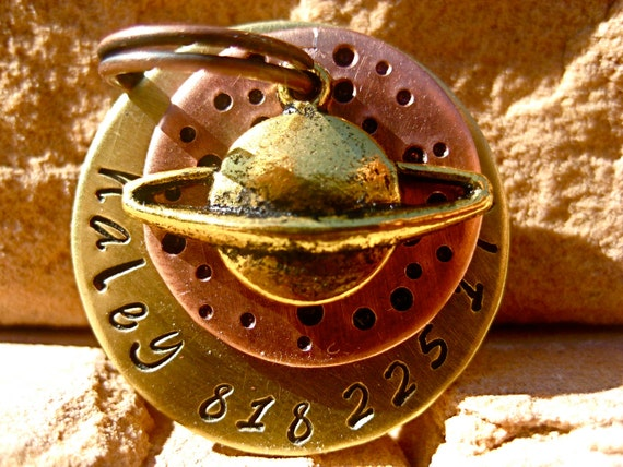 The Haley - Unique Handstamped Pet ID Tag Planet Galaxy Dog Tags