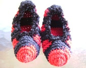 Punk Red And Black Striped Adult Slippers
