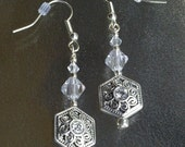 Swarovski Crystal Earrings Silver Plated Filigree