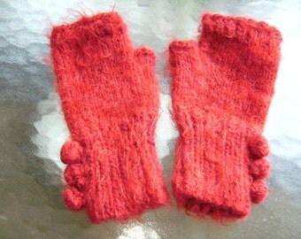 Red Fuzzy Fingerless Gloves
