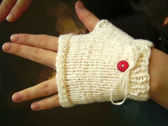 Fancy White Fingerless Gloves