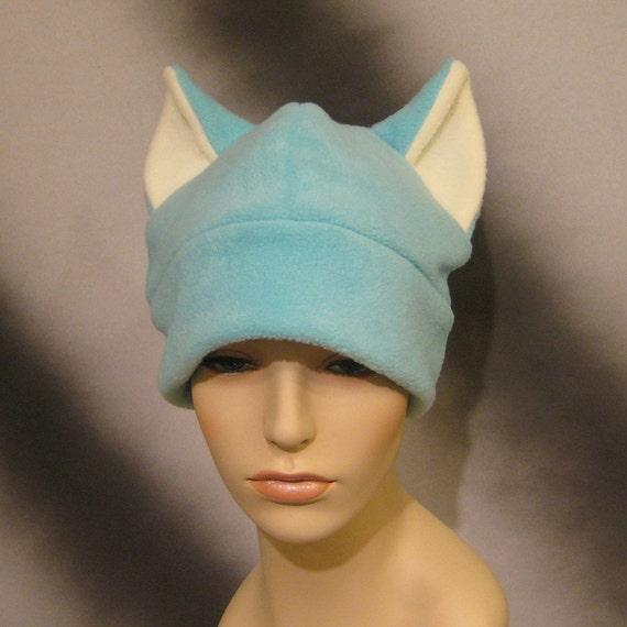 Fuzzy Aqua Green/Blue Cat Ear Hat