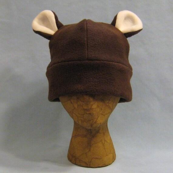 Dark Brown Fuzzy Bear Hat