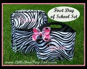 Gift set of 3 - Zebra Monogrammed SMALL Backpack, Lunchbox and Hair Bow - Name Girls Toddler Hot Pink Personalized Bookbag Book Bag