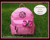 Monogrammed Backpack - Personalized Solid Color Hot Pink Brown Navy Green Black School Girls Back Pack Book Bag kids childrens Boys